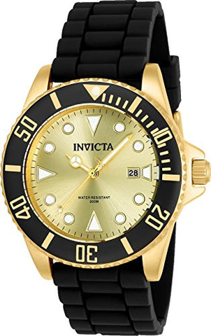 Invicta Men's 90302 Pro Diver Quartz 3 Hand Gold Dial Watch