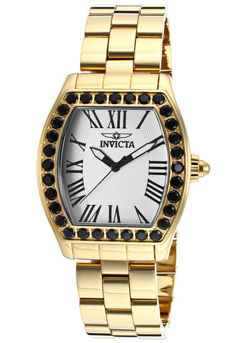 Invicta 14530 Women's Angel White Textured Dial 18k Gold Ion-Plated SS Watch