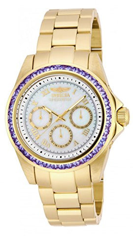 New! Womens Invicta 17714 Speedway 3.73ctw Tanzanite Gold Tone Bracelet Watch