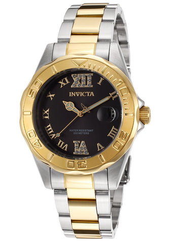 Invicta Women's 14352 Pro Diver Quartz 3 Hand Black Dial Watch