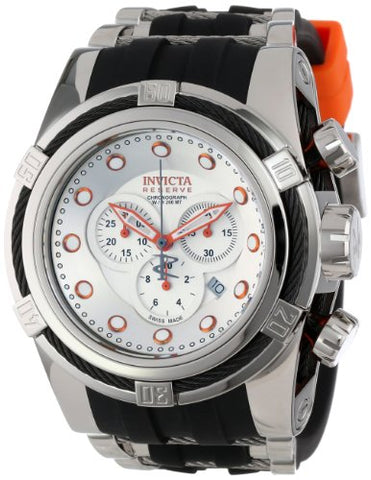 Invicta 14071 Mens Bolt Reserve Chronograph Silver Dial Black Polyurethane Watch