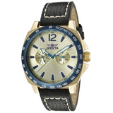 Invicta 10294 Men's Specialty Gold Tone Dial Black Leather Watch