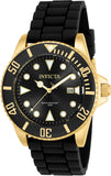 Invicta Men's 90303 Pro Diver Quartz 3 Hand Black Dial Watch