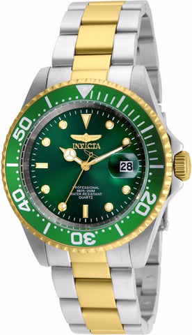 Invicta Men's 24950 Pro Diver Quartz 3 Hand Green Dial Watch