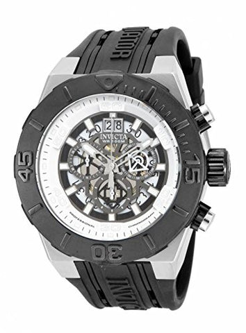 Invicta Mens 15890 48mm Aviator Quartz Multifunction Black Polyurethane Watch