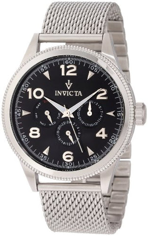 Invicta 12204 Men's Vintage Black Dial Stainless Steel Watch