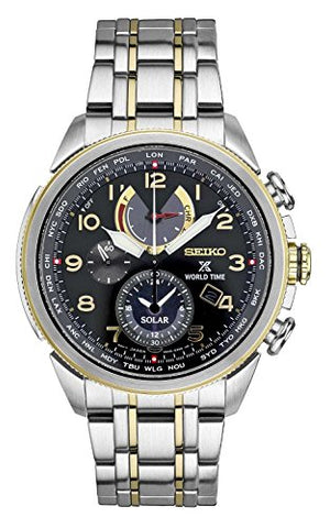 Seiko Men's Prospex World Time Solar Silvertone With Black Dial