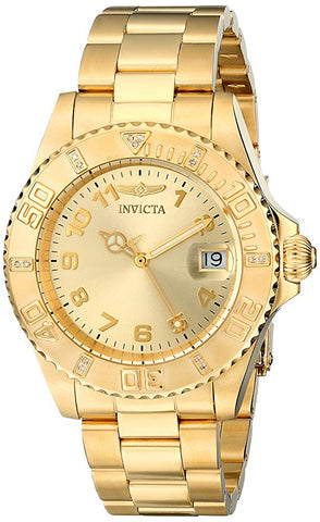 Invicta Women's 15249 Pro Diver Quartz 3 Hand Gold Dial Watch