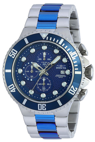 Invicta Men's 50mm Pro Diver 90081 Chronograph Two Tone Stainless Steel Blue Quartz Watch