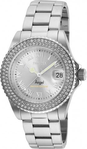 Invicta Women's 24613 Angel Quartz 3 Hand Silver Dial Watch