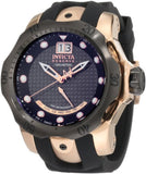 Invicta 1594 Men's Reserve Retrograde Black Dial Black Analog Silicone Watch