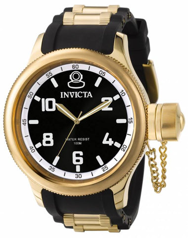 Invicta Men's 1436 Russian Diver Quartz 3 Hand Black Dial Watch