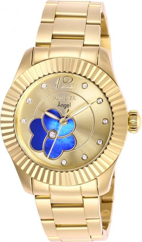 Invicta Women's 27439 Angel Quartz 3 Hand Gold, Blue Dial Watch