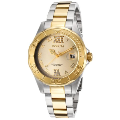 Invicta Women's 14351 Pro Diver Quartz 3 Hand Gold Dial Watch