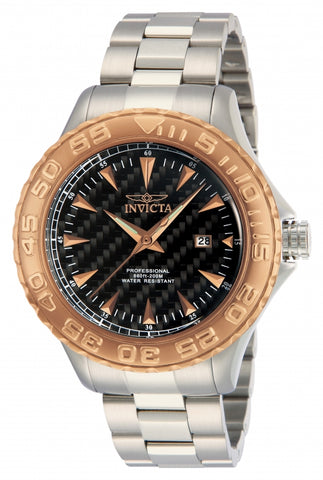Invicta Men's 12557 Pro Diver Quartz 3 Hand Black Dial Watch