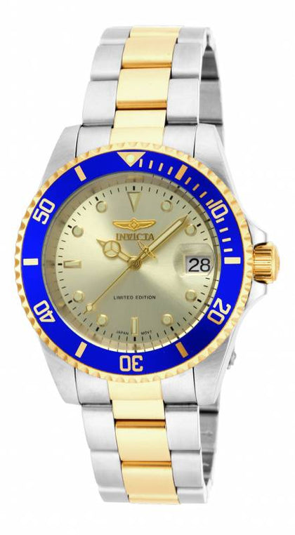 Invicta Men's ILE8928OBA Pro Diver Automatic 3 Hand Gold Dial Watch