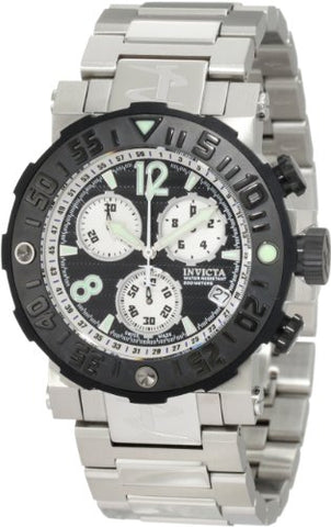 Invicta Men's 10585 Reserve Sea Rover Chronograph Black Dial Stainless Steel ...