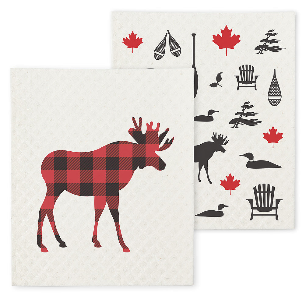 Moose + Icon Dishcloths. Set of 2