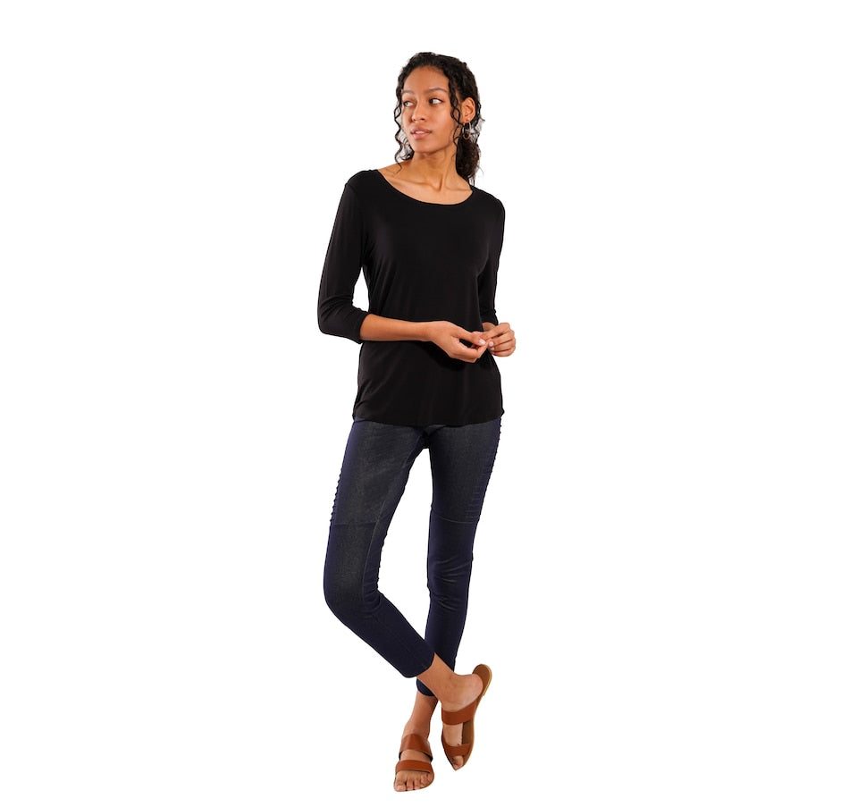 Ava 3/4 Sleeve Top - Black
