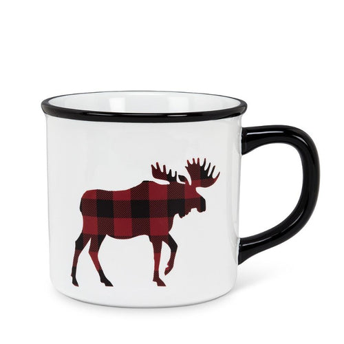 Wht/Blk Plaid Moose Mug