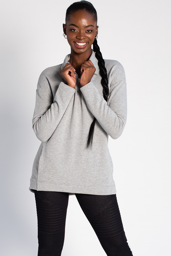 Naomi Half-Zip Sweater - Grey Melange