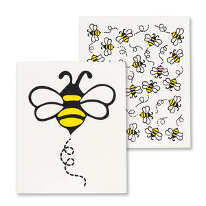Allover Bees Dishcloths. Set of 2