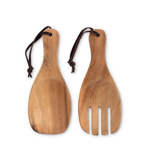 Short wood scoop servers with strap
