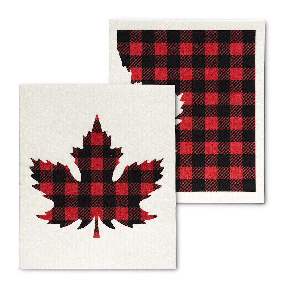 Buffalo Check Maple Leaf Dishcloths. Set of 2