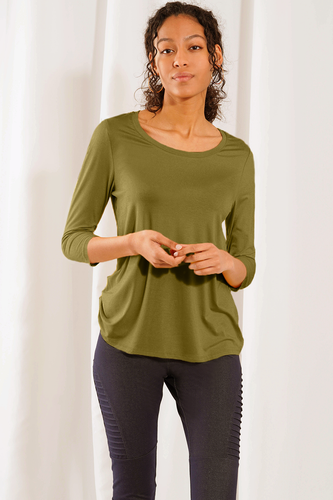 Ava 3/4 Sleeve Top - Forest