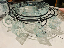 "Load image into Gallery viewer, Vintage 1950s Hazel Atlas Turquoise ""Spaghetti"" Pattern Punch Bowl Set"