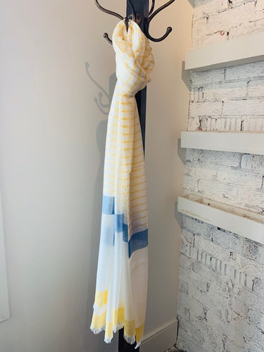Pastel Butter Yellow + Marine Blue Stripe
