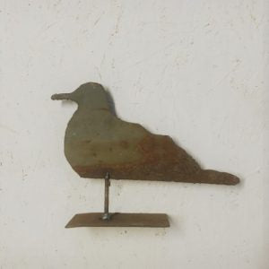 Hand-cut Seagull on Metal Stand