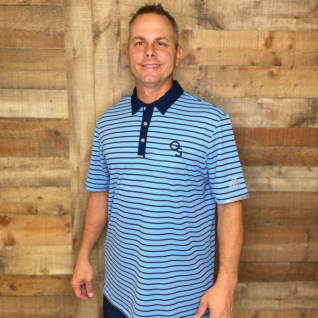 Light Blue Adidas Men's HEAT.RDY Golf Polo with Navy Stripes and Navy GS