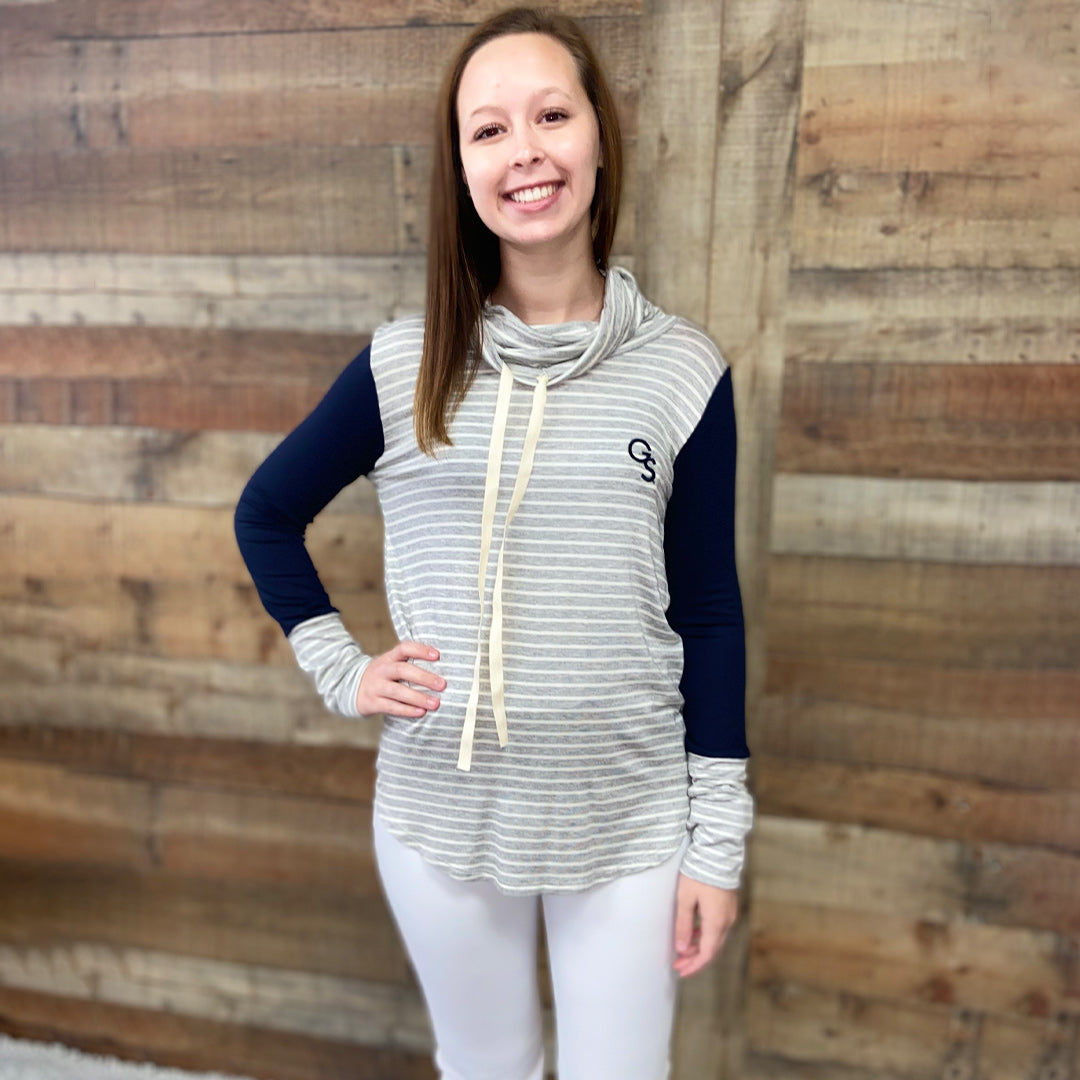 Georgia Southern Cowl Neck Stripe Tunic Top