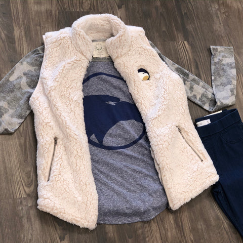 Oatmeal Sherpa Fur Vest with Academic Logo