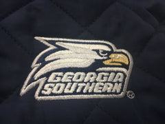 Navy Quilted Front Zipper Vest Georgia Southern Athletic Logo Embroidered