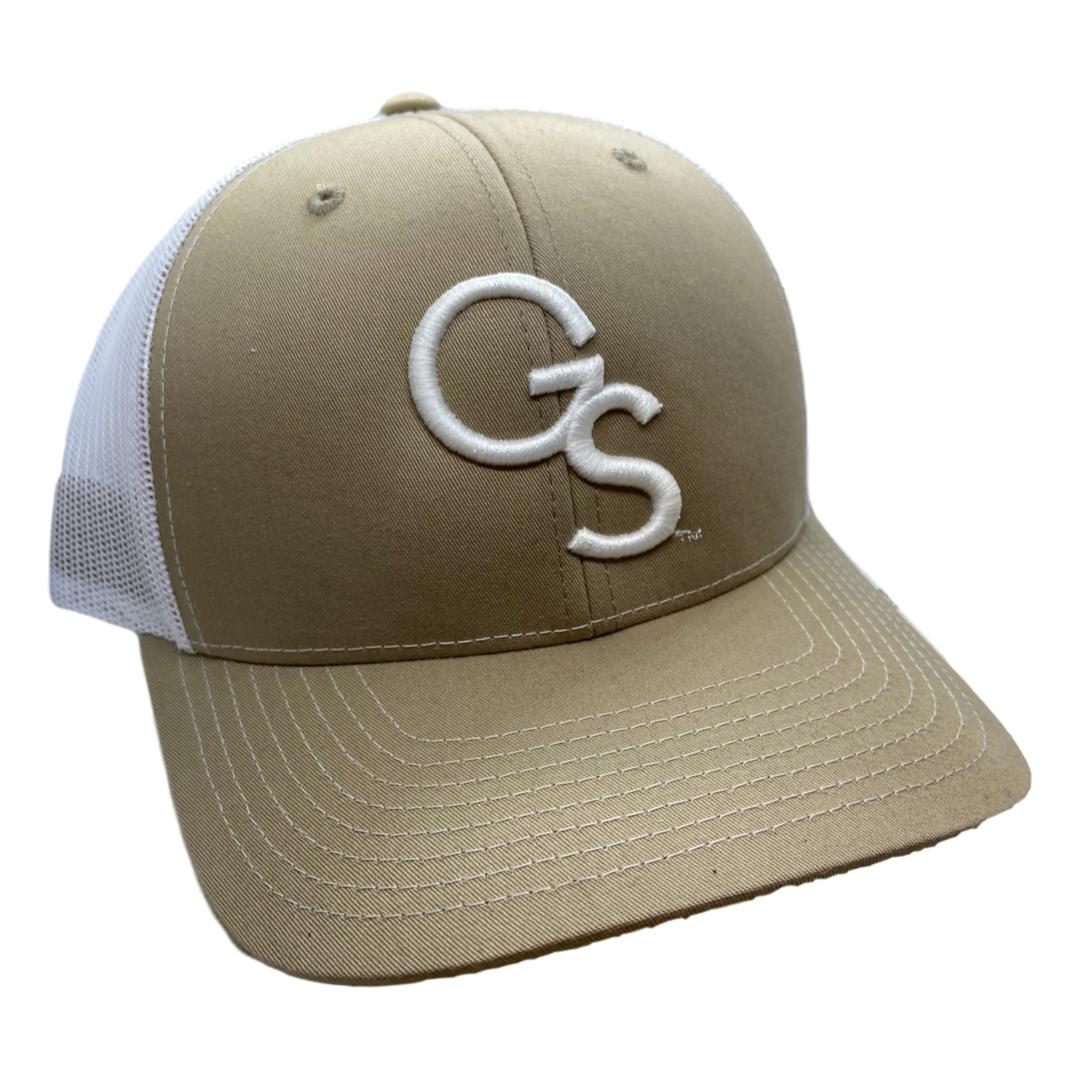 Khaki Trucker Hat with White GS