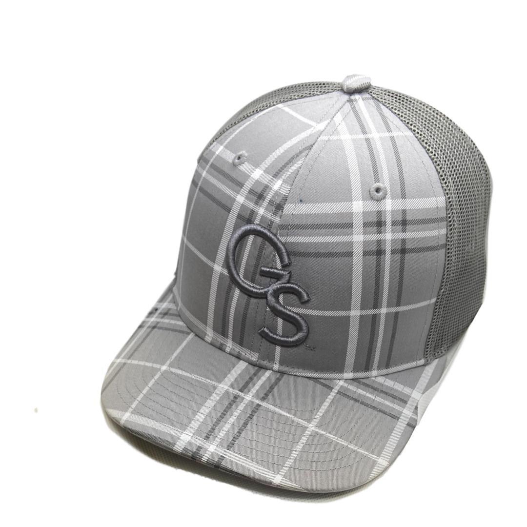 Grey Plaid Trucker Hat with Grey GS