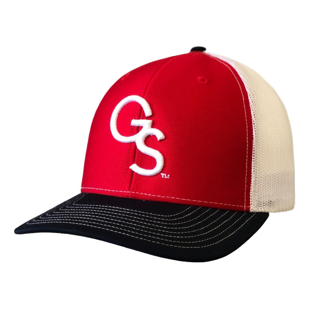 Red/White/Navy Trucker Hat with White GS