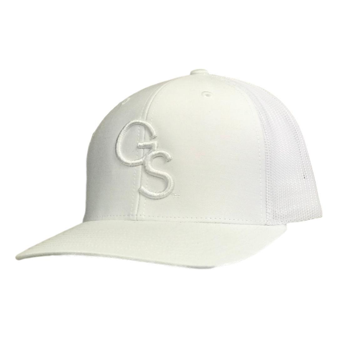 All White Trucker Hat with White GS
