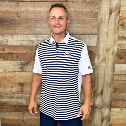Adidas Golf Ultimate365 3-Colour Stripe Shirt with Georgia Southern Athletic Logo