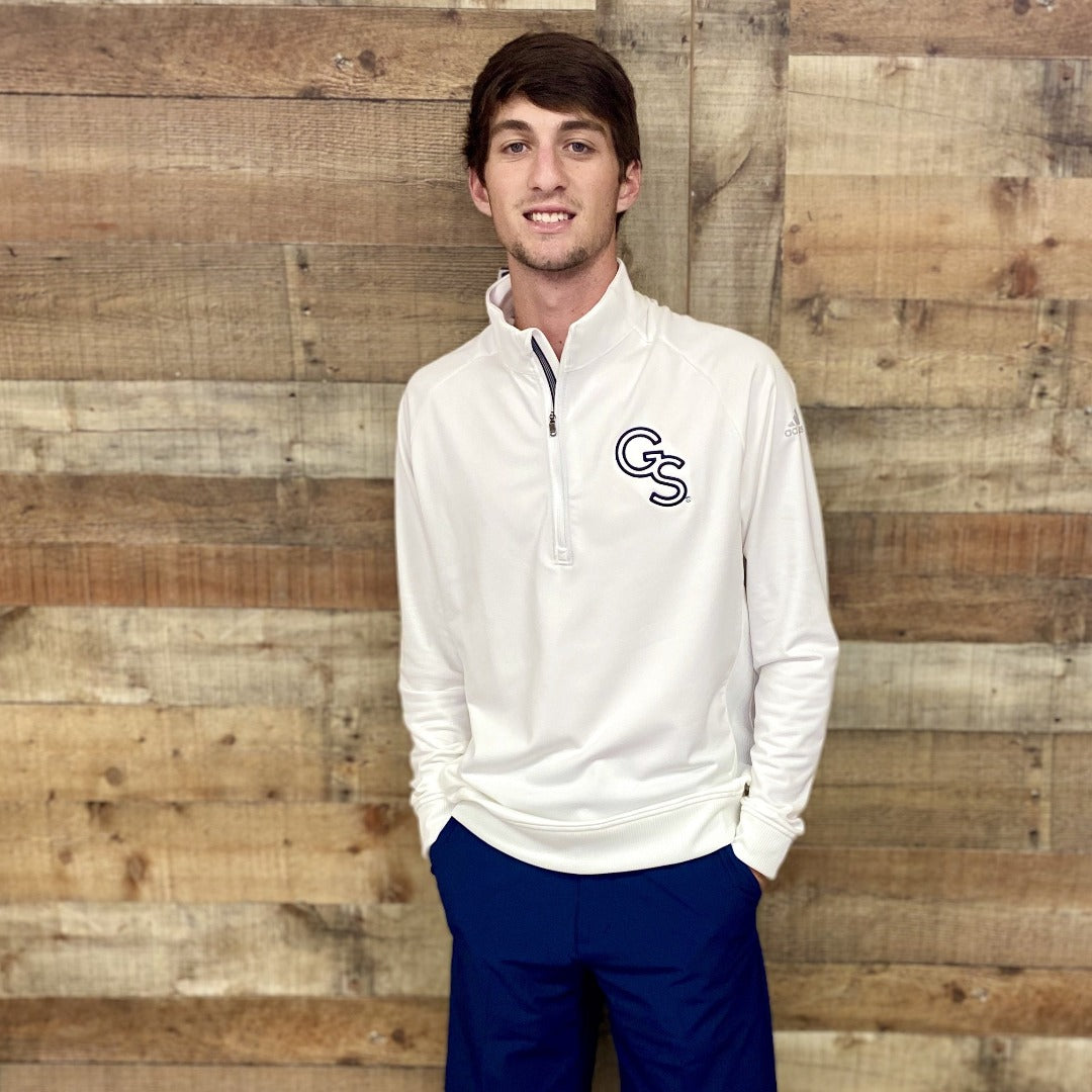 White Adidas Classic Club 1/2 Zip Pullover with Navy GS