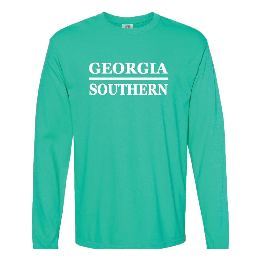 Georgia Southern Stacked Design Long Sleeve Tee Island Green
