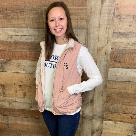 Blush Quilted Vest with Navy GS