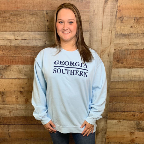 Georgia Southern Stacked Design Crewneck Sweatshirt Chambray
