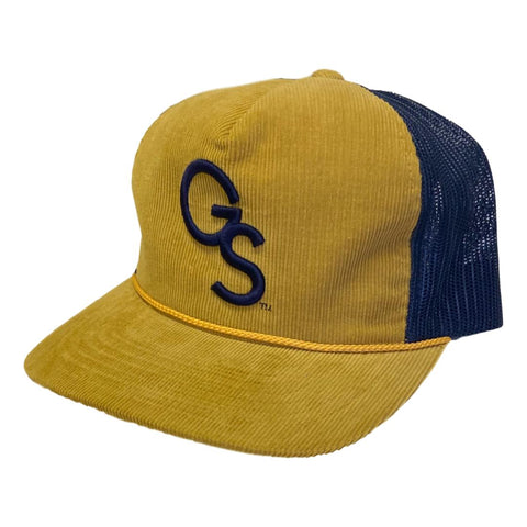 Corduroy Amber Gold Richardson Trucker Hat with Navy GS