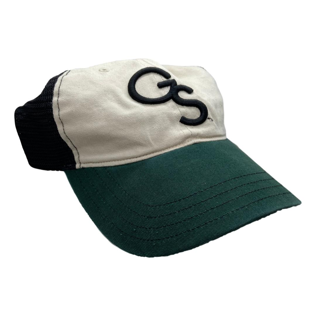 Khaki/Black/Green Unstructured Trucker Hat with Black GS
