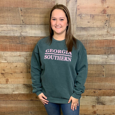 Georgia Southern Stacked Design Crewneck Sweatshirt Blue Spruce