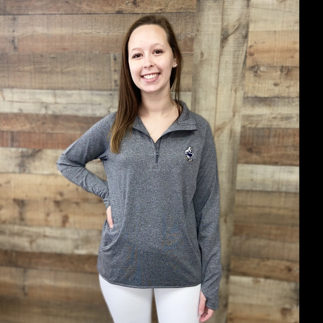 Women's Heather Grey 1/2-Zip Pullover With Struttin' Gus