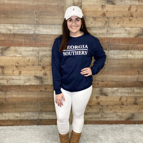 Georgia Southern Stacked Design Navy Long Sleeve Tee